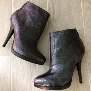 All Saints snake skin iridescent ankle booties